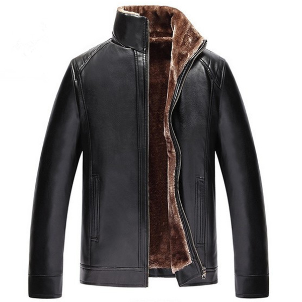Mens Thick Velvet Warm Winter Faux Leather Jacket