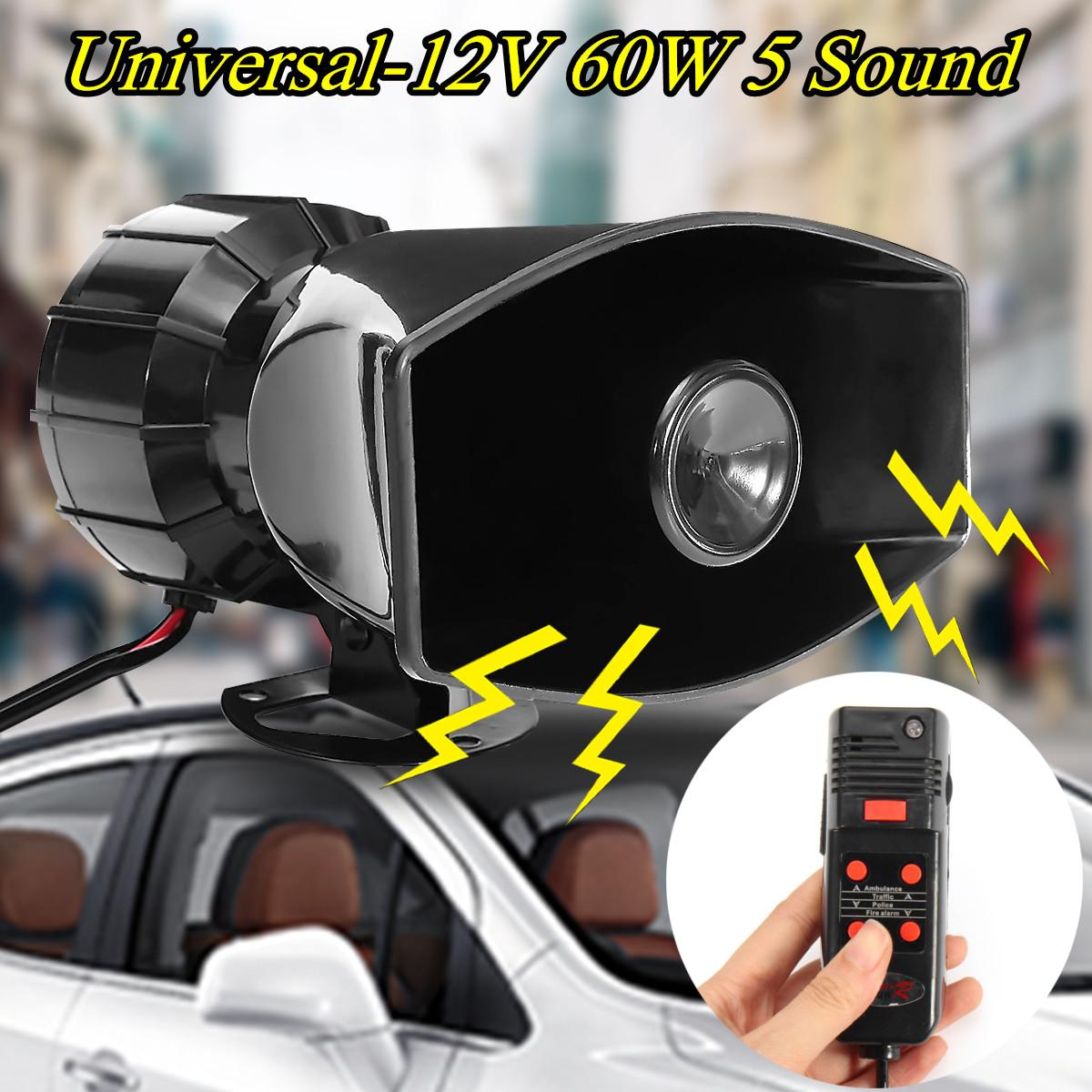 60W 5 Sound Loud Car Warning Alarm Police Fire Siren Horn PA Speaker MIC System