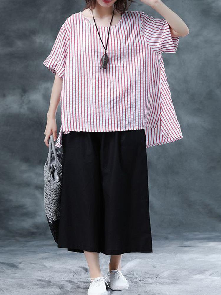 Women Striped O-neck Loose Casual Blouse