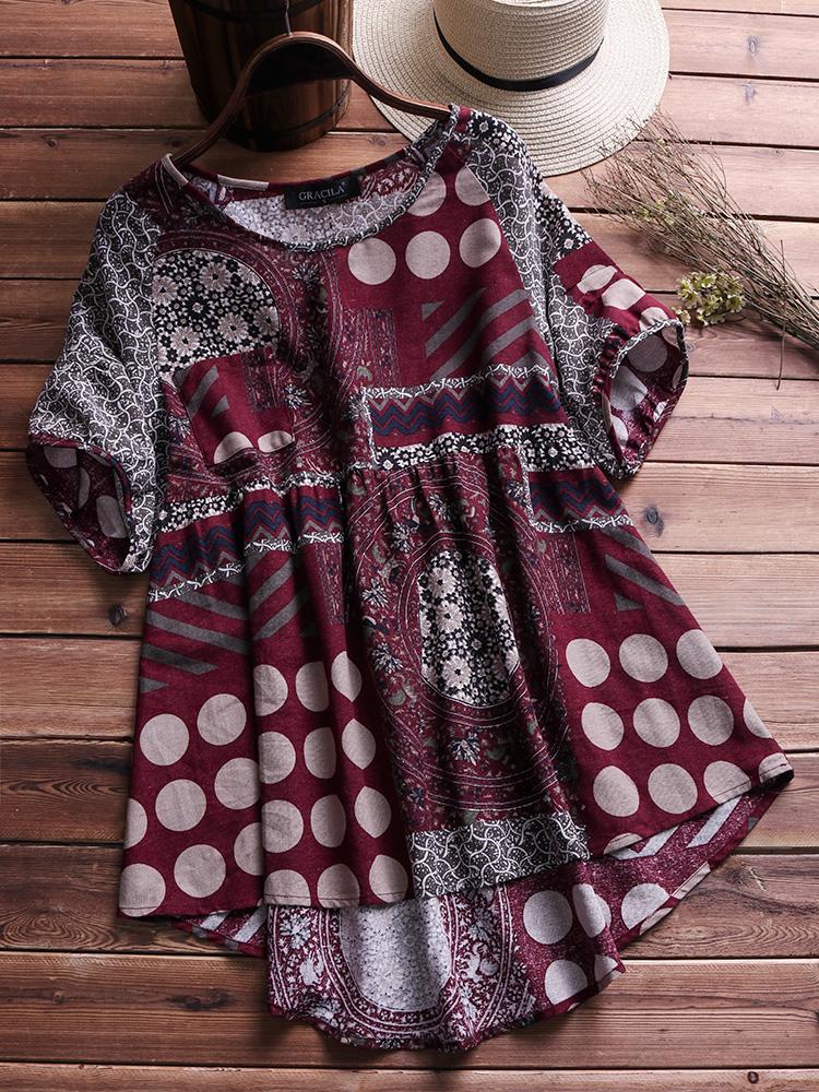 Ethnic Women Floral Short Sleeve Irregular Vintage Blouse