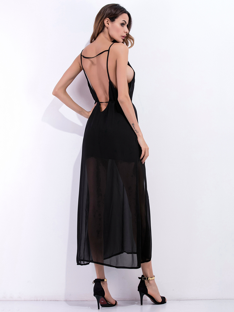 Sexy Harness Backless V-neck Sleeveless Women Chiffon Dresses