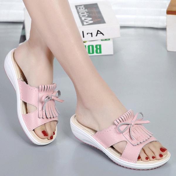 Women Leather Tassel Flat Sandals