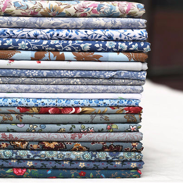 10PCS 50*50cm DIY Handmade Cotton Floral Plain Fabric Craft Cloth Material Square Quilting Set