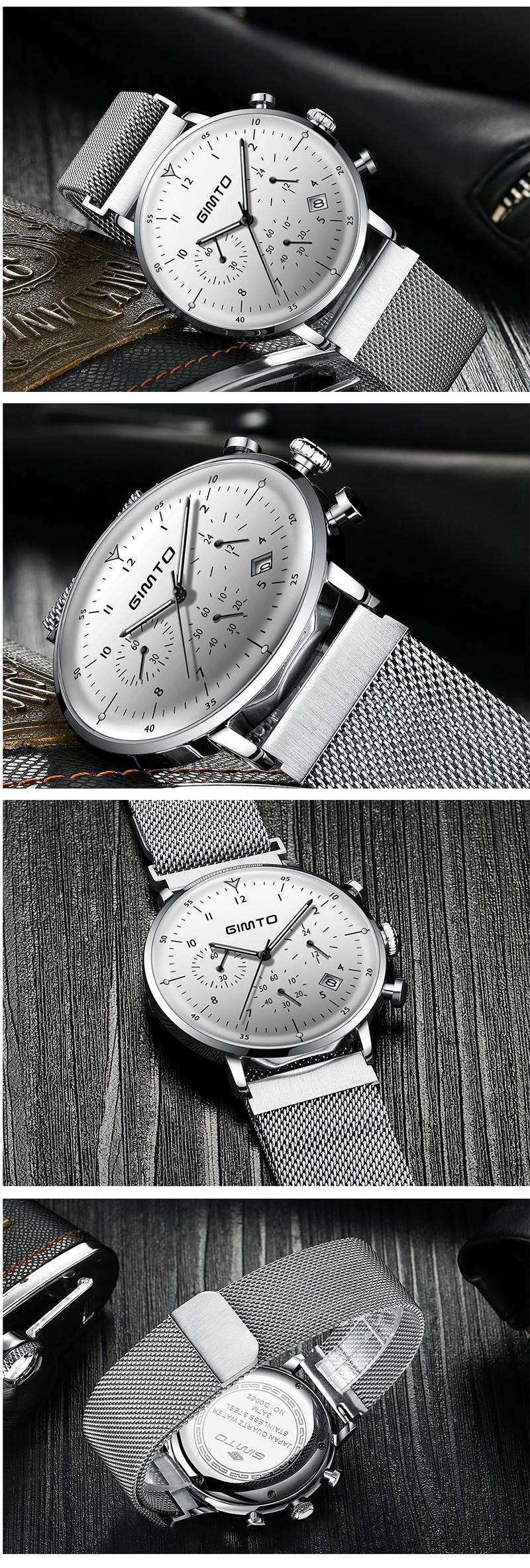GIMTO GM245 Luminous Display Stainless Steel Quartz Watch