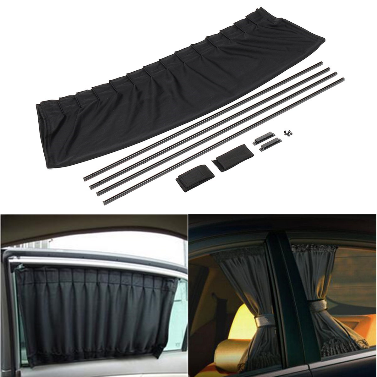 2pcs 70x49cm Adjustable Car Window Curtain Sunshade UV Protection Black Universal