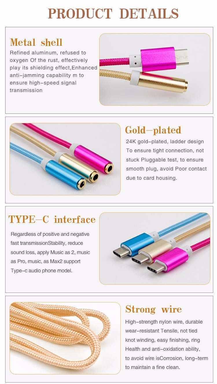 USB Type-C to 3.5mm Headset Jack Covertor Cable for Letv Leeco Le Max 2 Pro 3/Max2/S3