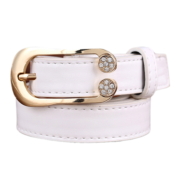 Women Ladies Second Layer Leather Belt Diamond Waist Belt Metal Pin Buckle Dress Waistband