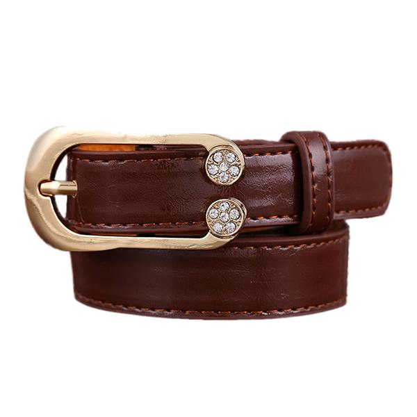 Women Ladies Second Layer Leather Belt Diamond Waist Belt Metal Pin Buckle Dress Waistband