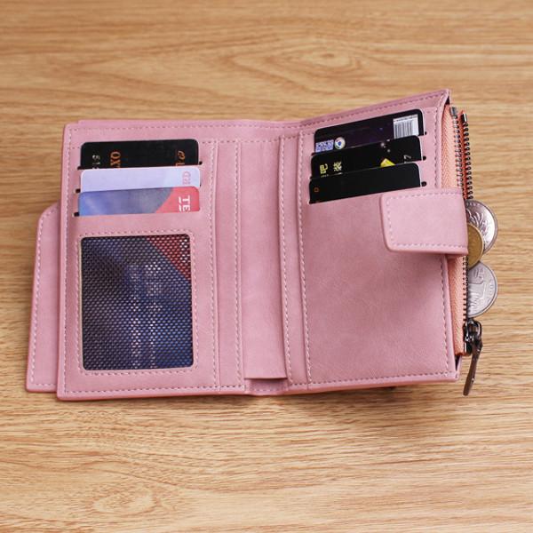 Women Matte Hasp Short Wallet Girls Cute Zipper Purse Card Holder Coin Bags