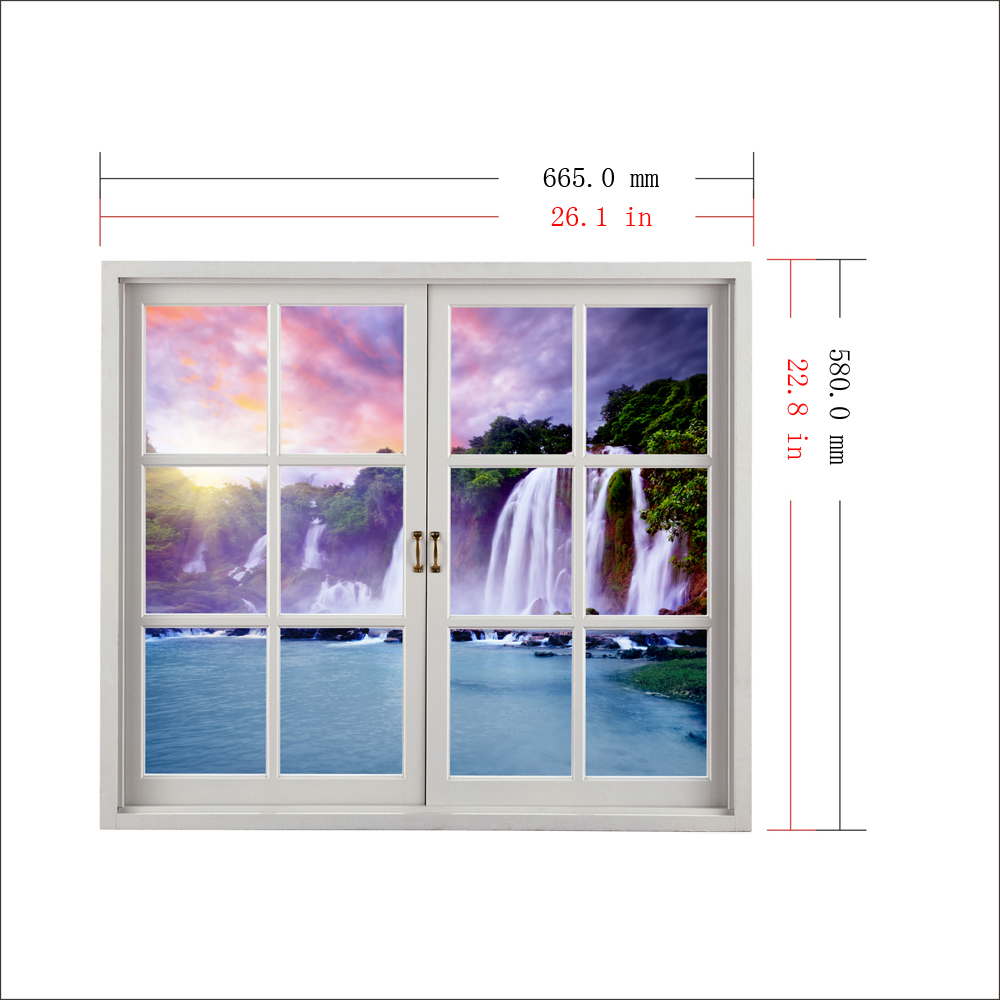 Waterfall PAG 3D Artificial Window Wall Decals Colorfullcloud Room Stickers Home Wall Decor Gift