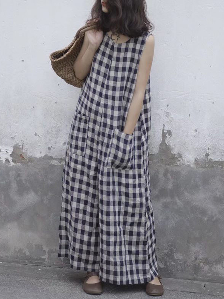 S-5XL Women Sleeveless Plaid Loose Wide Leg Jumpsuit