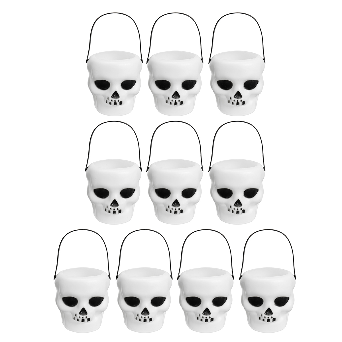 10pcs Halloween Cauldron Witch Skull Multi Purposed Candy Holder Planter Pot Party Decorations