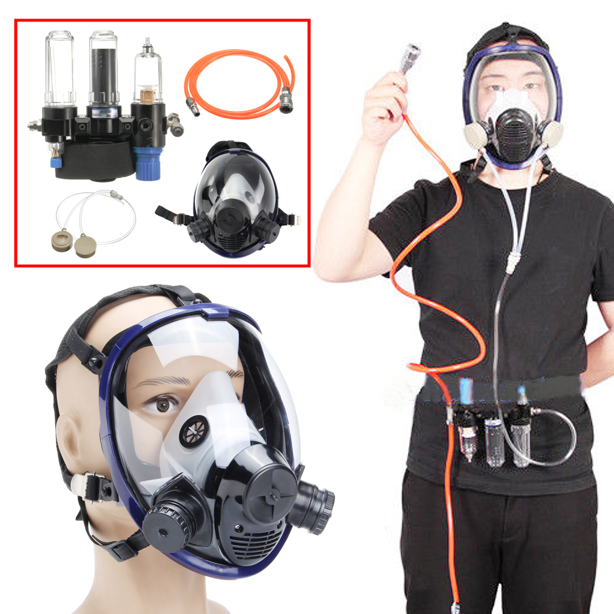 Eachine1 / 3 in 1 Function Supplied Air Fed System Respirator 6800 Full Face Clear Gas Mask