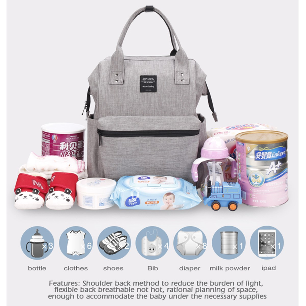Travel Anti-theft Baby Diaper Nappy Mummy Bag Tote Maternity Women's Handbag Backpack