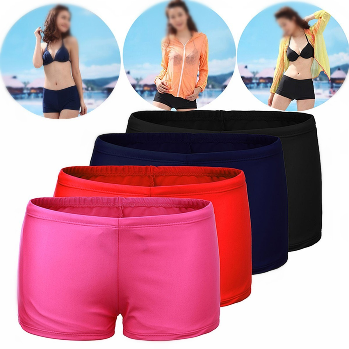 (Swimwear)New Women Shorts Plain Bikini Swim Swimwear Lady Boy Style Short Brief Bottoms S