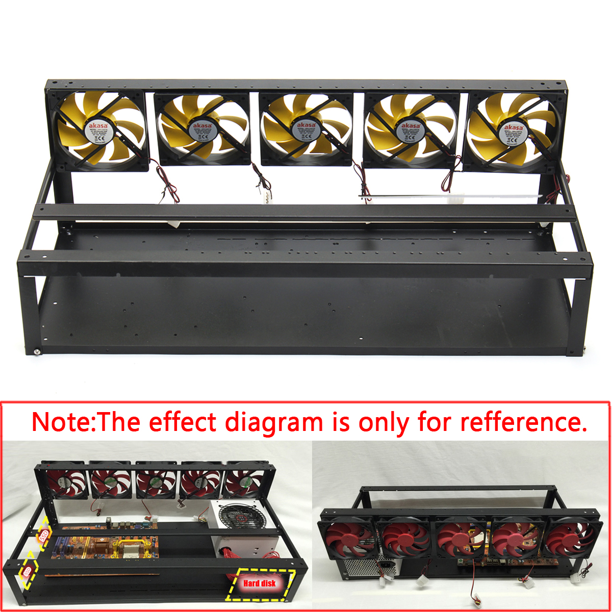 DIY Miner Mining Machine Mining Rig Frame Case 6-8 GPU Mining Frame Case With 5 Fans