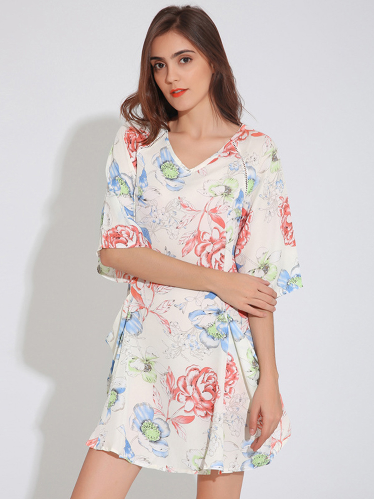 Vintage Pocket Floral Print Long Sleeve V-neck Women Mini Dress