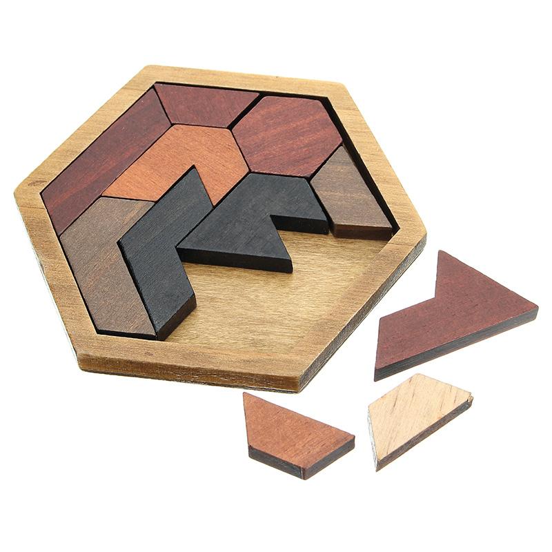 Kids Puzzles Wooden Toys Tangram Jigsaw Board Geometric Shape Children Educational Toy