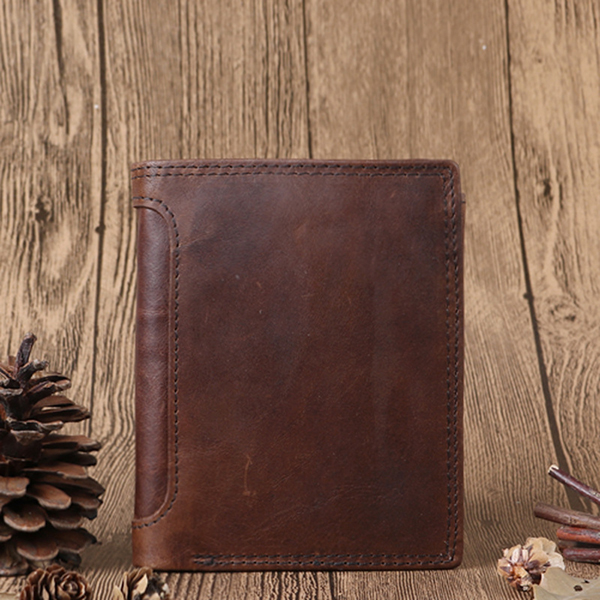 Men Genuine Leather Vintage Tri-fold Wallet 12 Card Slots Short Wallet Slim Wallet