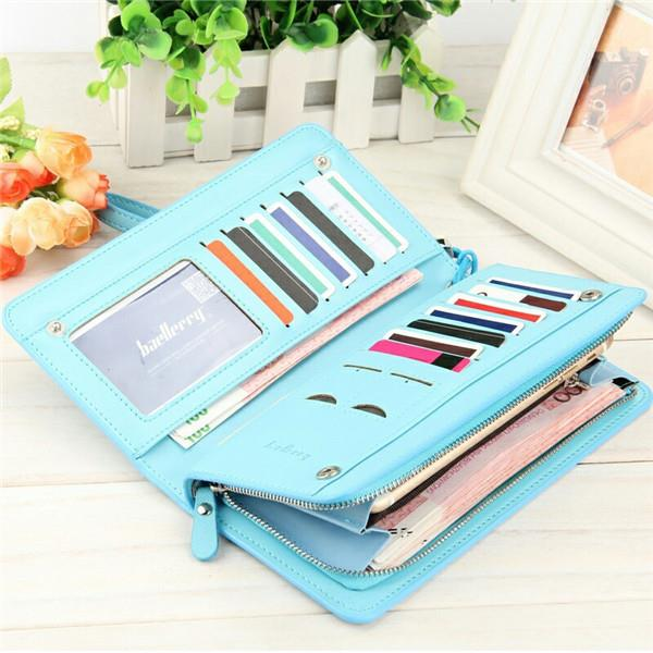 Women Candy Color Zipper Long Wallet 13 Card Holder Girls Summer Purse Phone Bags