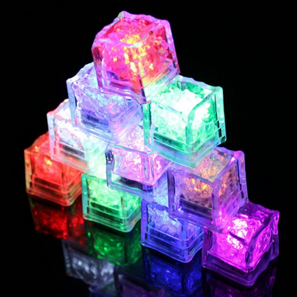 Battery Powered LED Ice Cube Colorful Flashing Light Liquid Sensor Submersible Decor for Bar Wedding