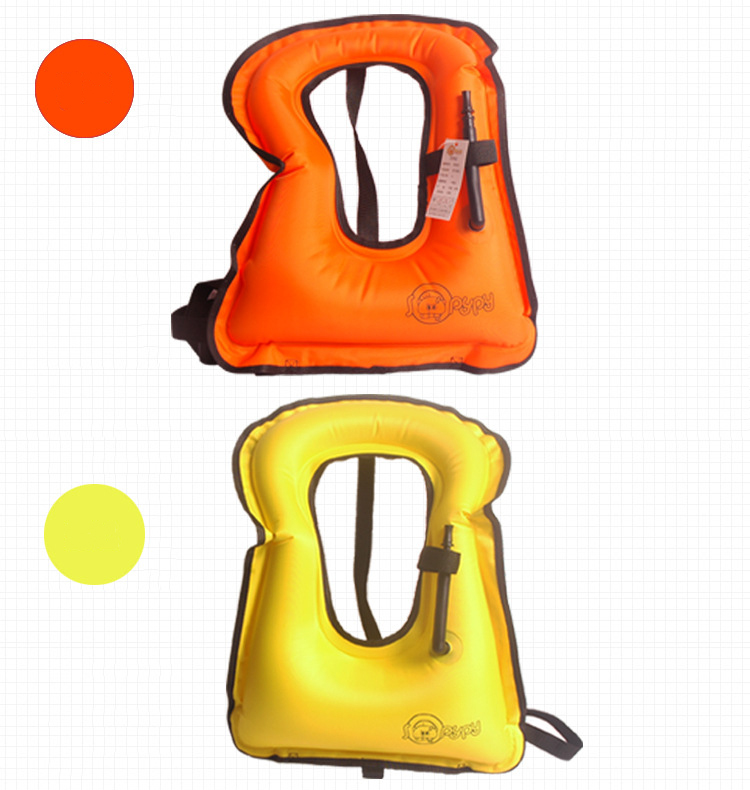Inflatable Life Jacket Portable Safe Snorkeling Swimming Vest Mouth Blowing Buoyancy