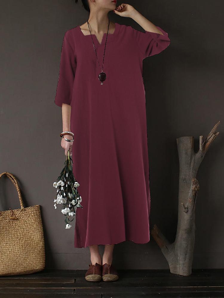 Plus Size Vintage Cotton V-neck Maxi Dress for Women