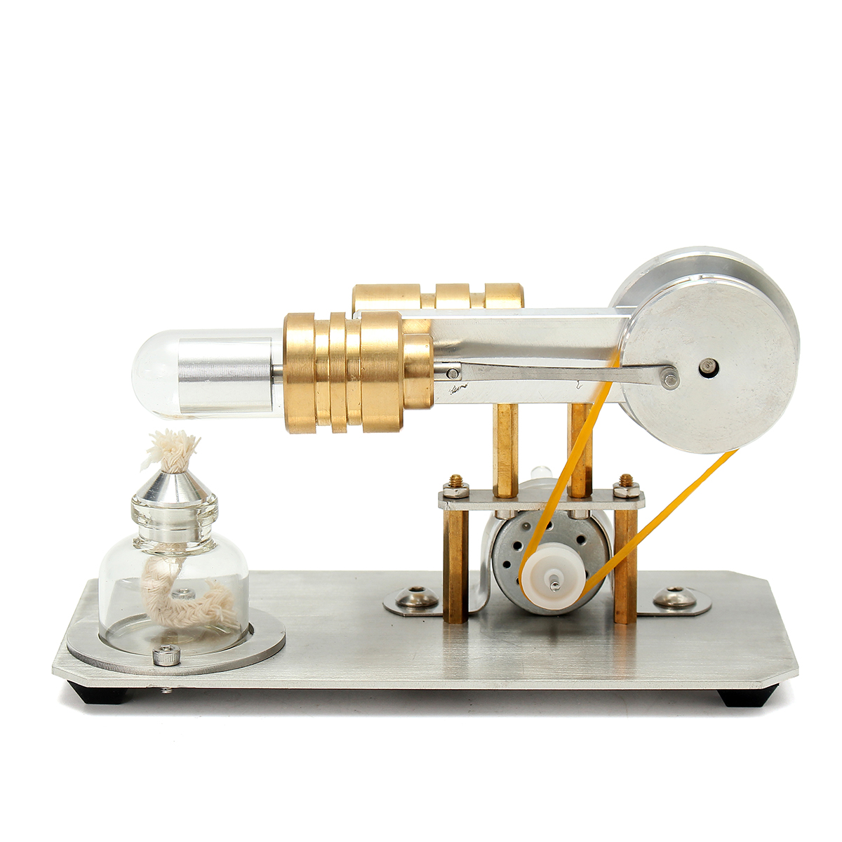 Mini Hot Air Stirling Engine Motor Model Physics Experiment Educational Toy Kit with LED Light
