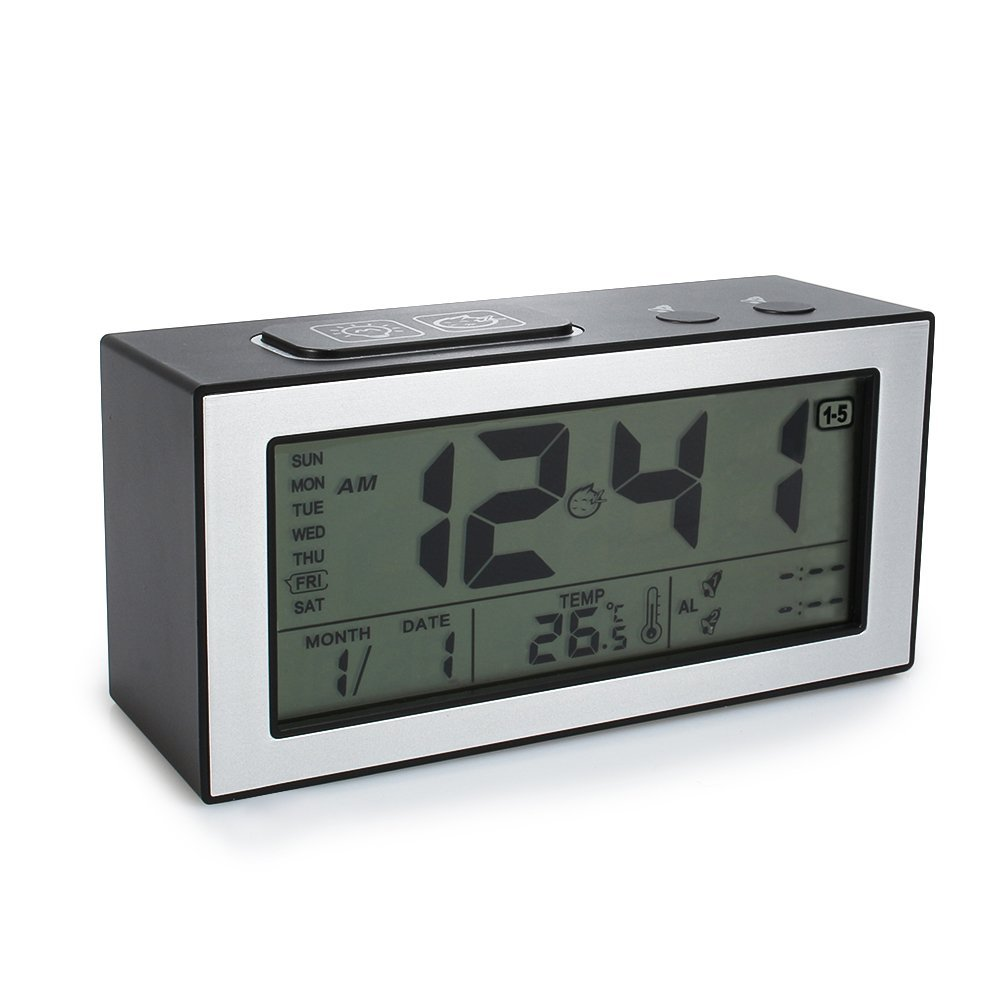 Digital LCD Alarm Clock With Time Date Week Temperature Night Lights Display
