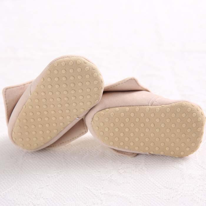 Newborn Toddler Baby Boy Girl Crib Shoes Soft Lace-Up Khaki Lapel Cotton Boots