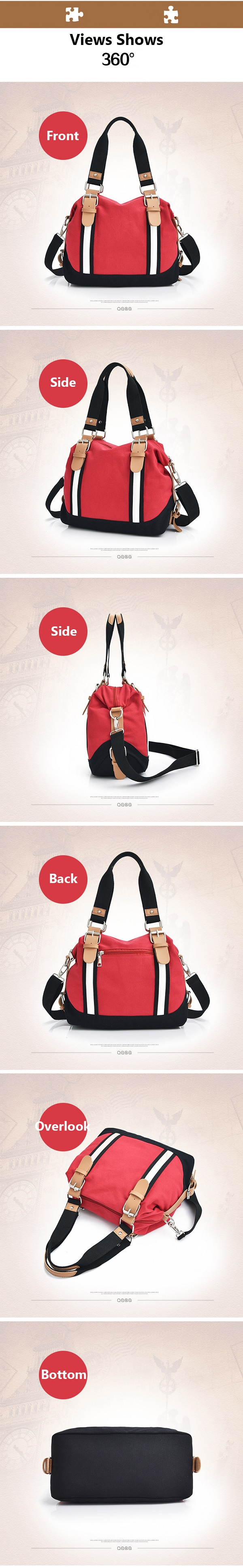 Women Canvas Casual Color Block Large Capacity Handbag Shoulder Bag Crossbody Bag