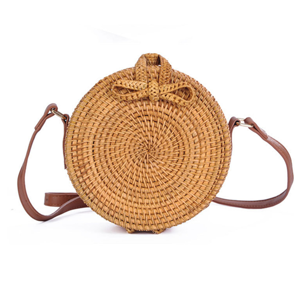 Hand Woven Bag Round Rattan Straw Bags Bohemia Beach Bag