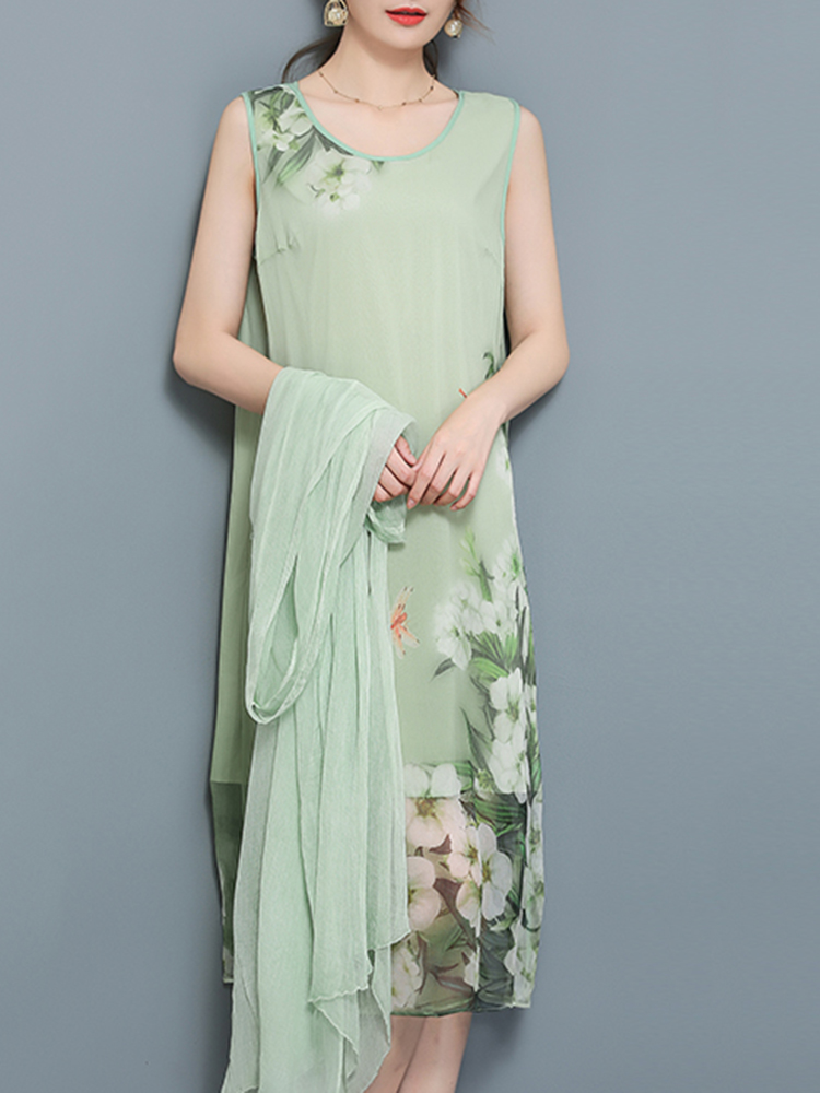 Chinese Style Silk Floral Print Two Pieces Sets