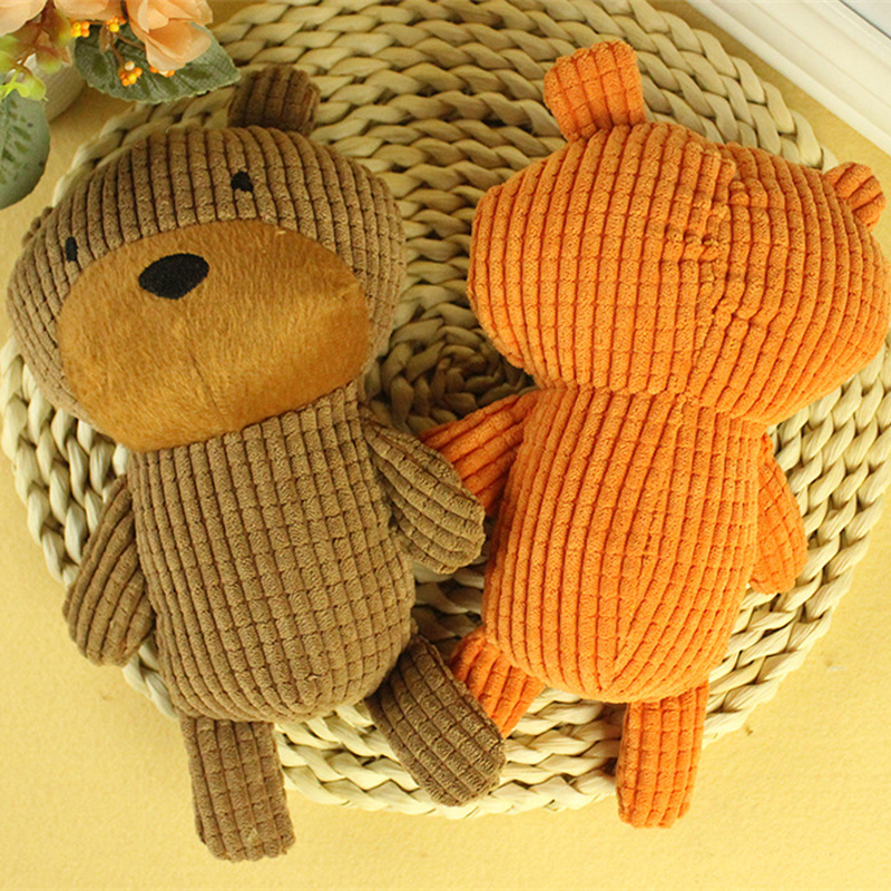 Short Plush Pet Dog Toy Bear Shaped Chew Squeaky Toys for Puppy Animal Playing Stuffed Pet Toys