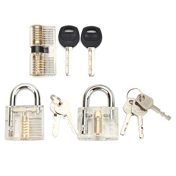 3Pcs Transparent Cutaway Inside View Of Practice Padlock Locksmith Practice Training Skill Set Lock Picks