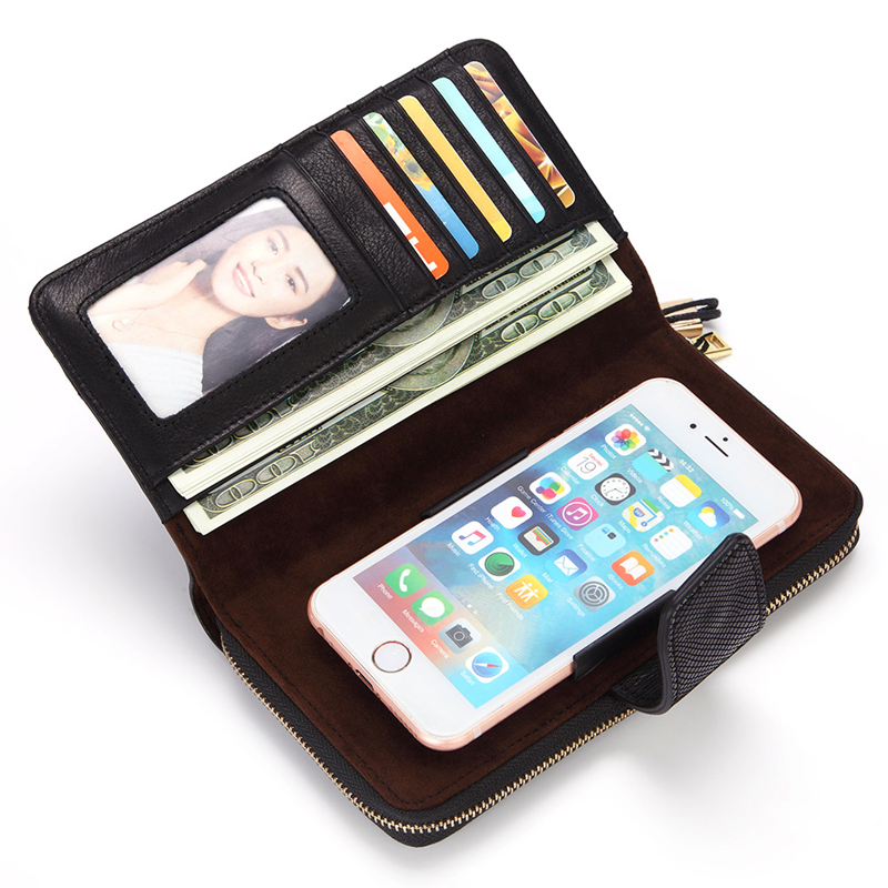 Women Genuine Leather Vintage Zipper Long Wallet Phone Bag