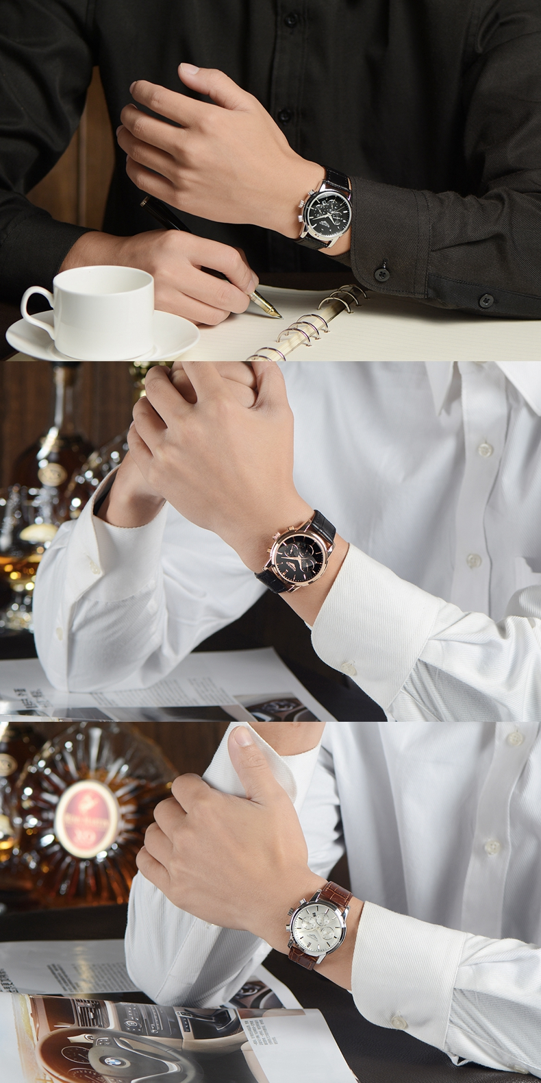 GUANQIN GQ12005 Men Watch Luxury Fashion Style Leather Strap Male Quartz Watch
