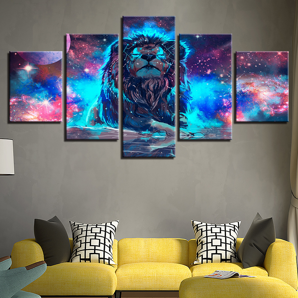 5 Panels Constellation Starry Sky Wall Art Print Pictures Canvas Wall Art Painting Unframed For Home Decorations