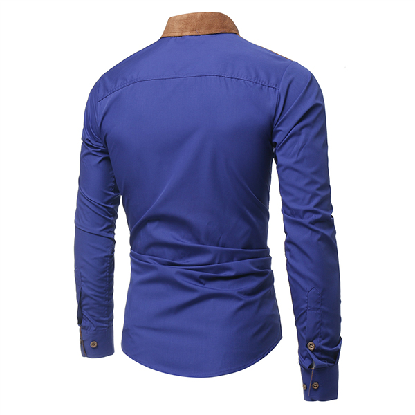 Mens Fashion Stitching Collar Cotton Long Sleeve Designer Casual Shirt