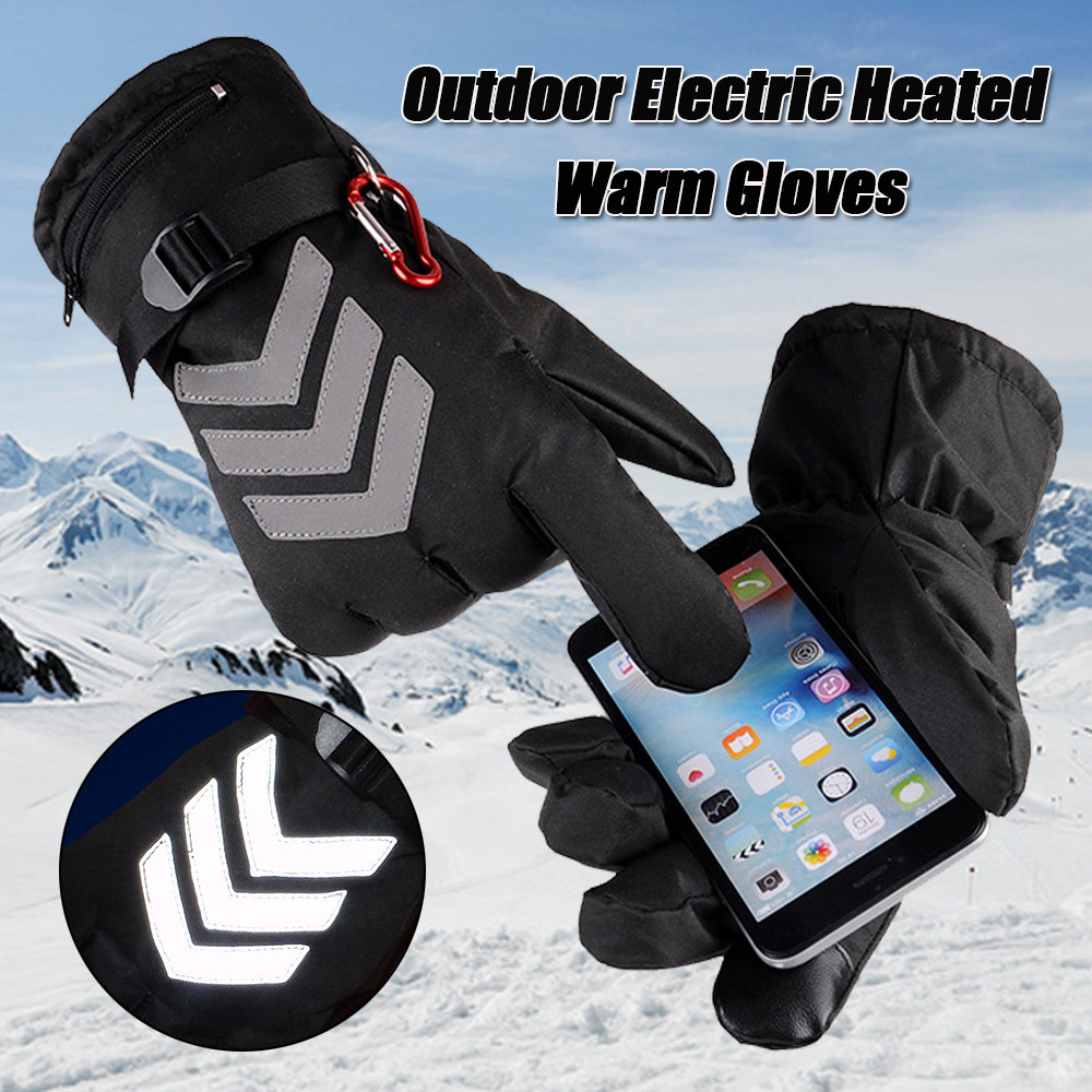 Touch Screen Electric Heated Gloves Rechargeable Battery Motorcycle Outdoor Hands Warmer