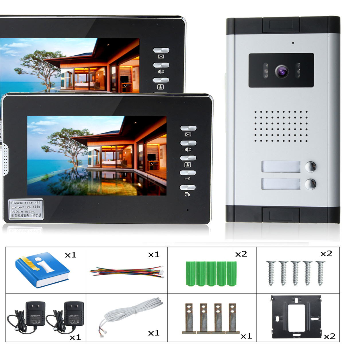 7inch Color LCD Video Doorbell Door Phone System Wired Intercom IR Camera with 2 Monitor