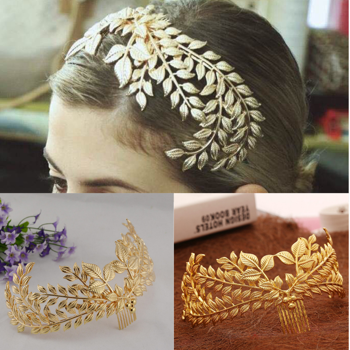 Bride Gold Leaf Headdress Headbrand Roman Hair Crown Vintage 20's Headpiece Comb