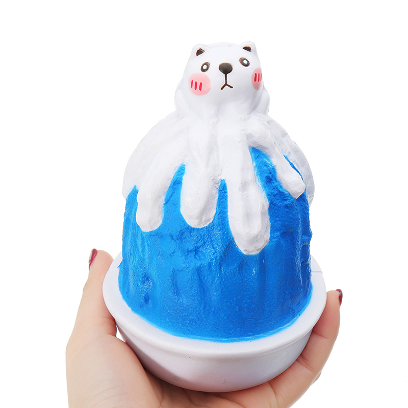 Squishy Blueberry Cat Ice Cream Snow Cone Sorbet Smoothie Toy 16cm Slow Rising With Packaging