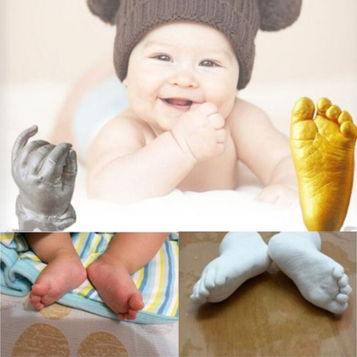 3D Baby Hand & Foot Plaster Handprints Footprints Casting Set Keepsake Gift Decorations