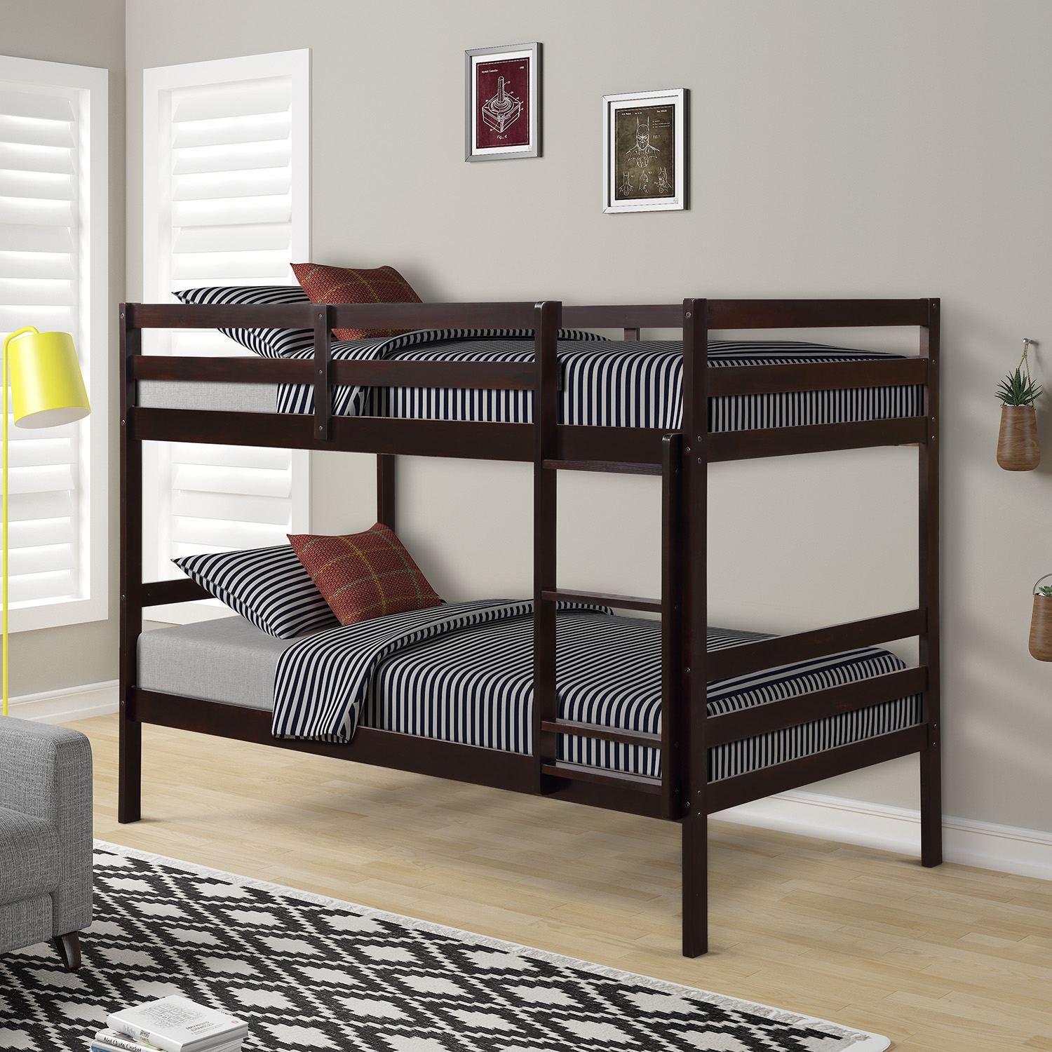 Twin over Twin Solid Wood Bunk Bed Double Bed