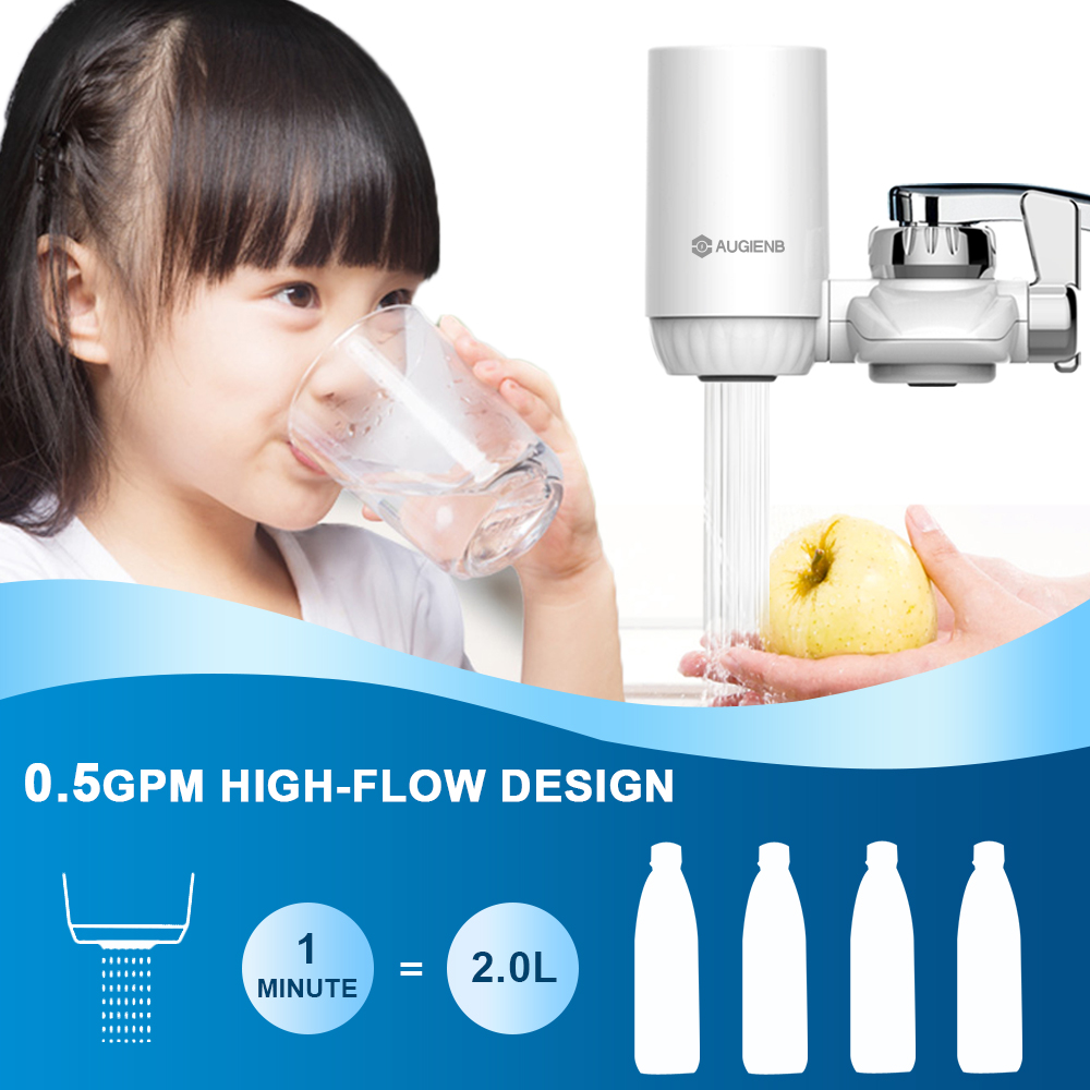 AUGIENB 528-Gallon 3-Stage Faucet Water Filter System 2.0L/min For Kitchen House