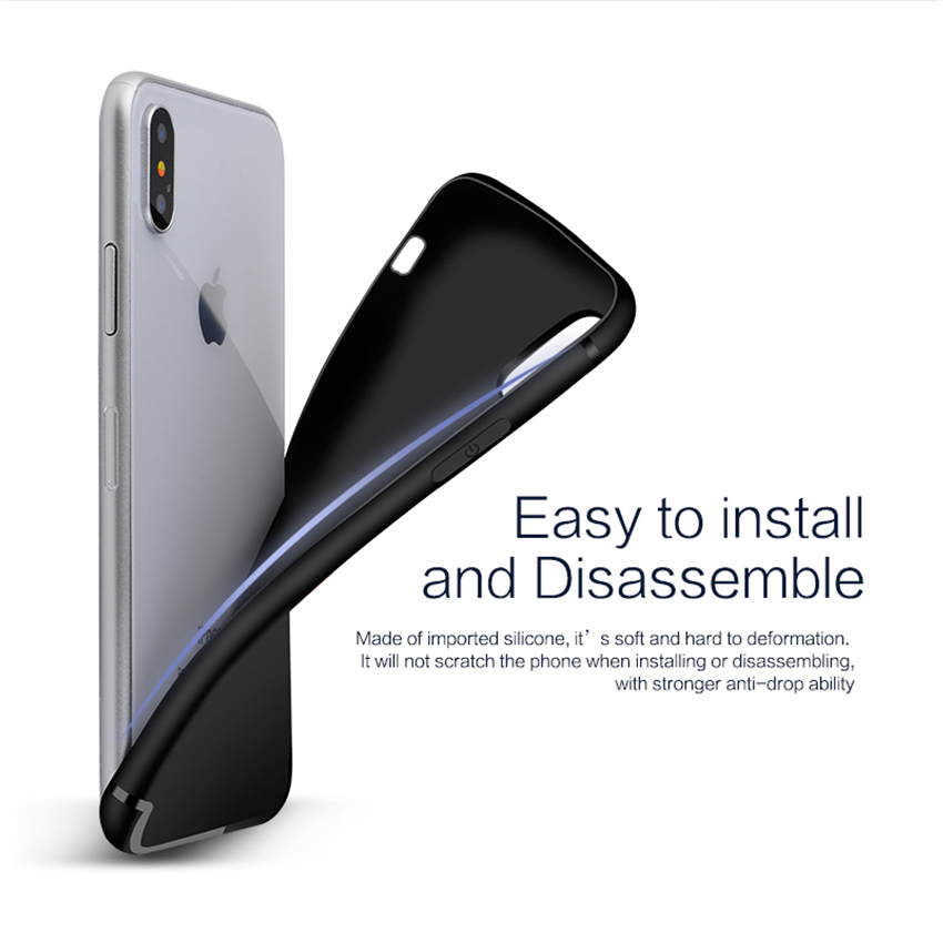 Bakeey Protective Case For iPhone XS Slim Micro Matte TPU Cover With Dust Plug Cover