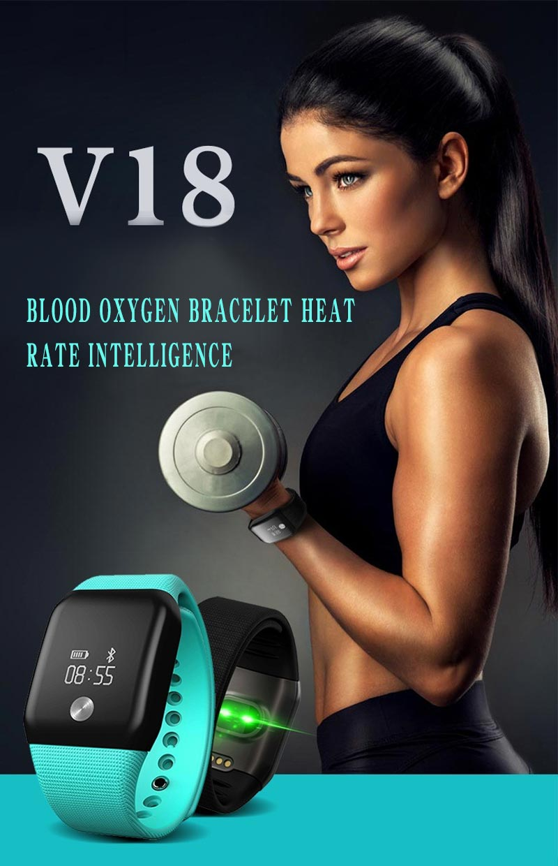 V18 Blood oxygen Heart Rate Monitor Fitness Tracker Smart Bracelet Wristband For IOS Android