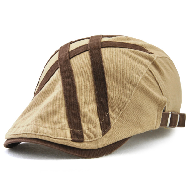 Mens Casual Outdoor Cotton Striped Berets Caps Buckle Adjustable Golf Foward Hat