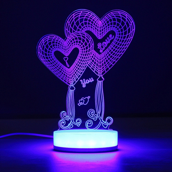 3D Illusion USB LED Night Light 7 Color Changing Desk Table Lamp Xmas Gift